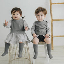 New Spring Korean Boys and Girls Two-Piece Striped Romper Romper Baby b