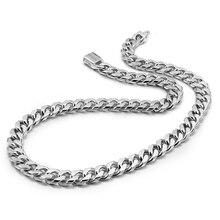 Gerçek 100% ayar gümüş erkek kolye Hip Hop Punk tarzı 10mm 26in zincir kolye moda erkekler/erkek 925 gümüş takı kolye
