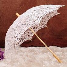 Модный кружевной зонтик и Ретро складной веер для невеста, свадебный цветок девушка свадебной бежевый