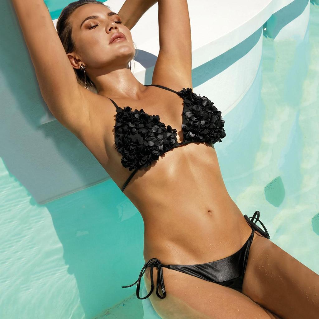 #Z2 Floral Solid Sexy Bikinis Women Swimwear Push Up Swimsuit Halter Top Biquini Bathing Suit Bandage Brazilian Bikini Set