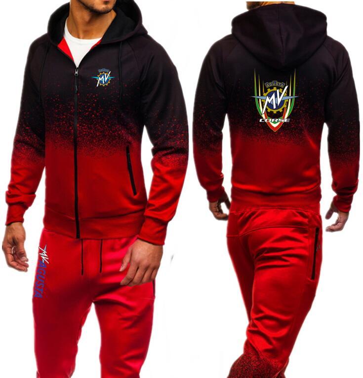 MV Agusta Corse Printed Gyms Tracksuit Men Sets Jacket Pants Sweatshirt Sweat Suits Casual Zipper Hoodeis Fitness Outwear Jogger