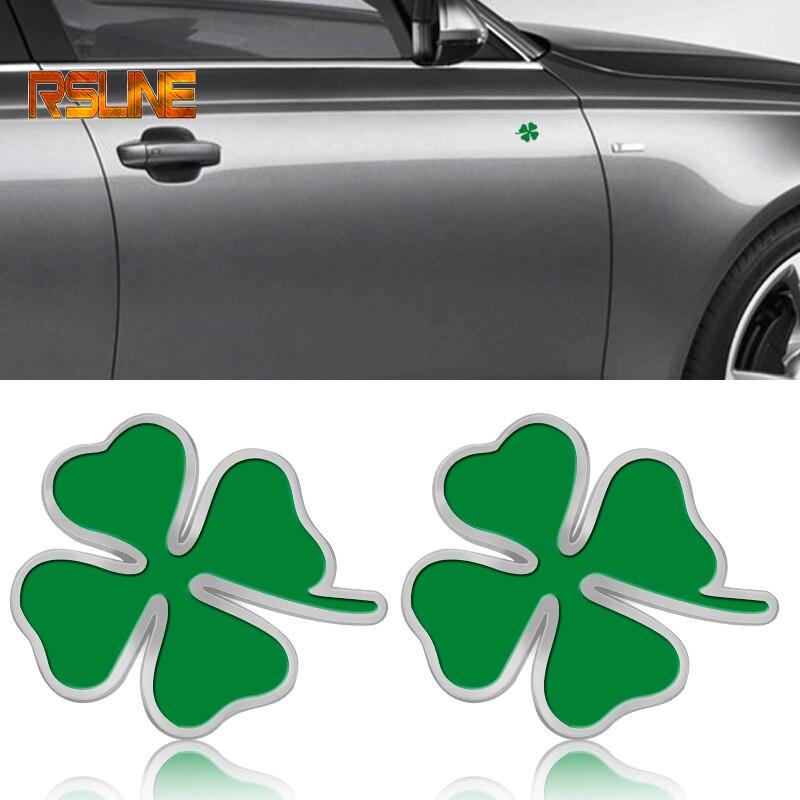 2 pièces Vert Trèfle Jour Badge Alfa Romeo Trèfle À Quatre Feuilles Chromé En Métal et avec gril de Voiture Emblème Autocollant De décoration de Voiture