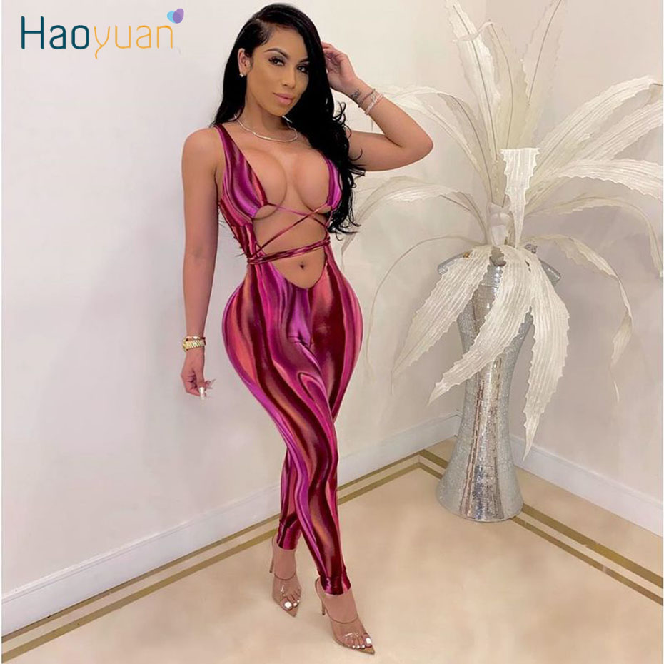 HAOYUAN Sexy Summer Rompers Women Jumpsuit Festival Clothing One Peice Party Club Outfits Hollow Out Bandage Bodycon Overalls