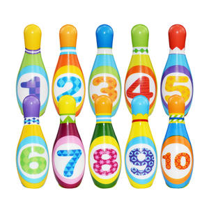 1 Set of Bowling Pins and Balls Solid Safe Fun Educational Toy for Toddlers Kids