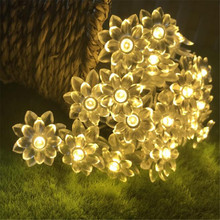 Lotus Flowers LED String 10M 80LED Garland light 220V EU Fairy Christmas String Lights For Wedding Holiday Party Garden Home