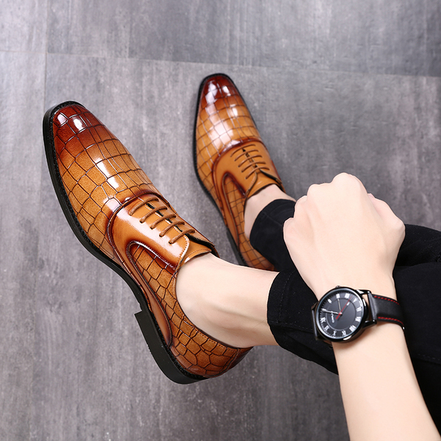 Pointed Toe Men Casual Shoes Fashion Crocodile Pattern Business Leather Shoes Big Size 37-48 Party Wedding Footwear Best Gift
