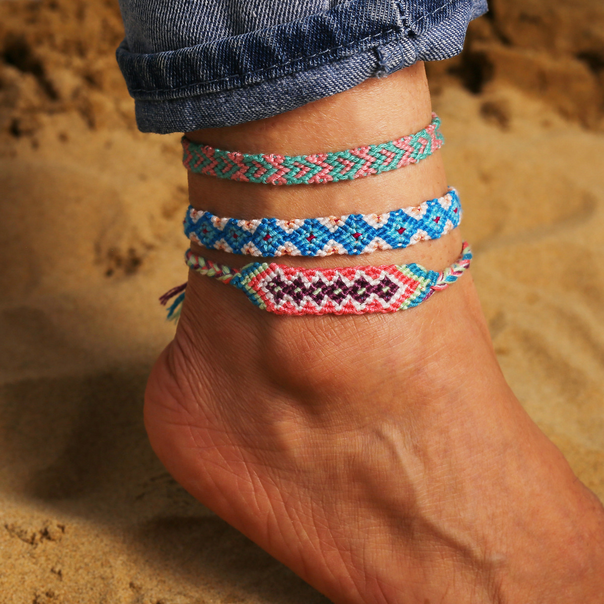 Bohemia Handmade Colorful Cotton Anklet Bracelet Female 2020 Summer Beach Sandal Leg Bracelet Vintage Rope String Ankle Bracelet 3