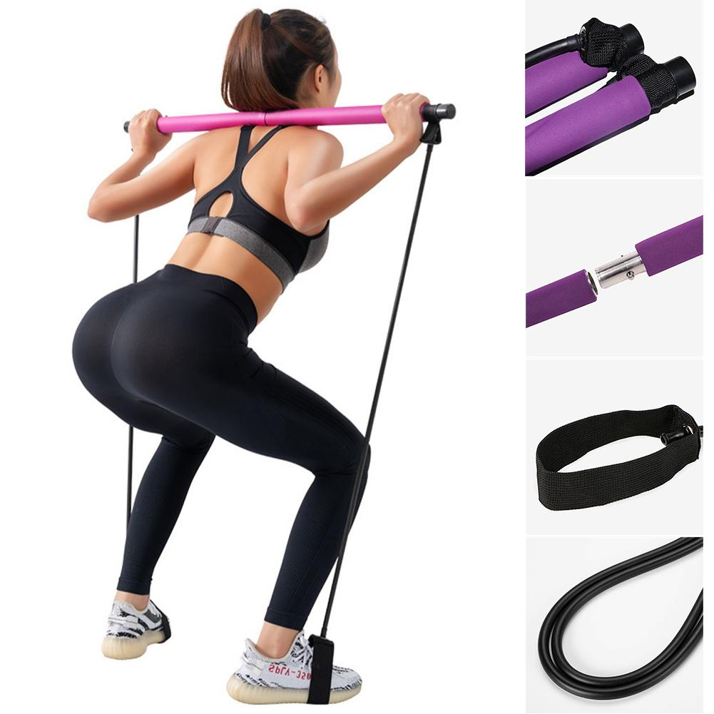 Portable Pilates Exercise Stick Toning Bar Fitness Home Yoga Gym Body Workout Body Abdominal Resistance Bands Rope Puller Kit