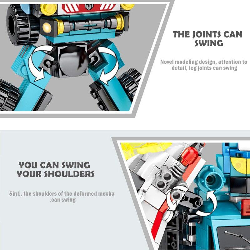 SEMBO Block 5 in 1 Mechanical Battle Deformation Robot Building Blocks