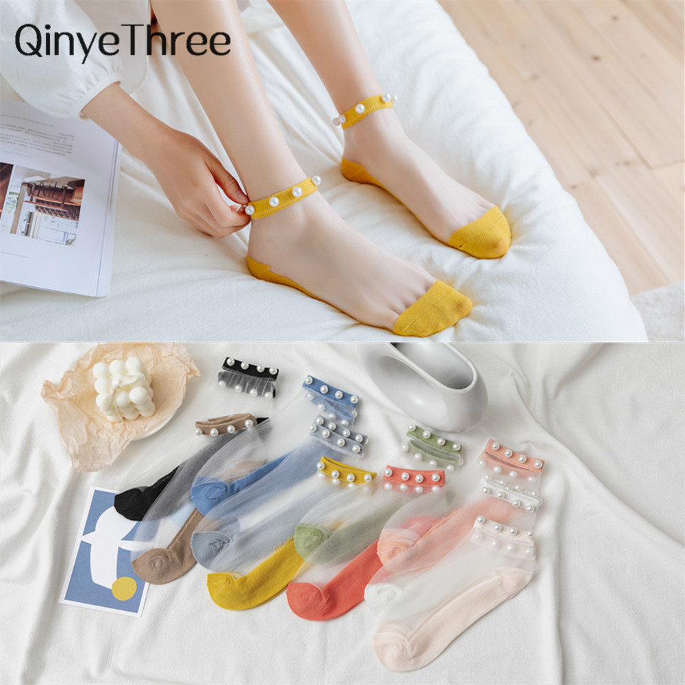 Women Socks 2020 Spring New Fashion Ankle Female Breathable Thin Pearl Summer Socks Korean Style Invisible Funny Socks Women