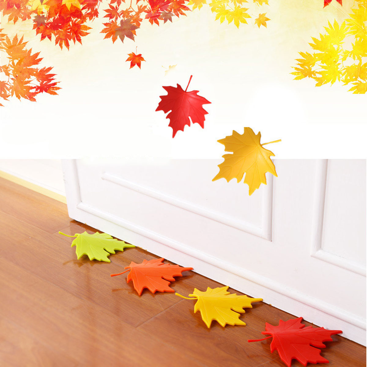 Puseky Beautiful Maple Leaf Style Door Stopper Home Decoration Baby Children Finger Safety Doorstop 4 Colors