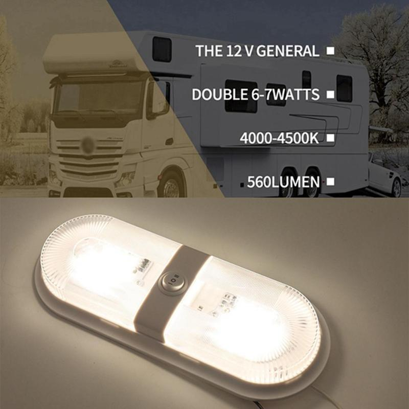 12V-24V 48 LED Dome Light Interior Ceiling Lamp with Independent Switch Caravan <font><b>Accessories</b></font> Parts for Autocaravana <font><b>RV</b></font> Marine Boat Yacht Camping Car <font><b>Motorhome</b></font> Trailer image