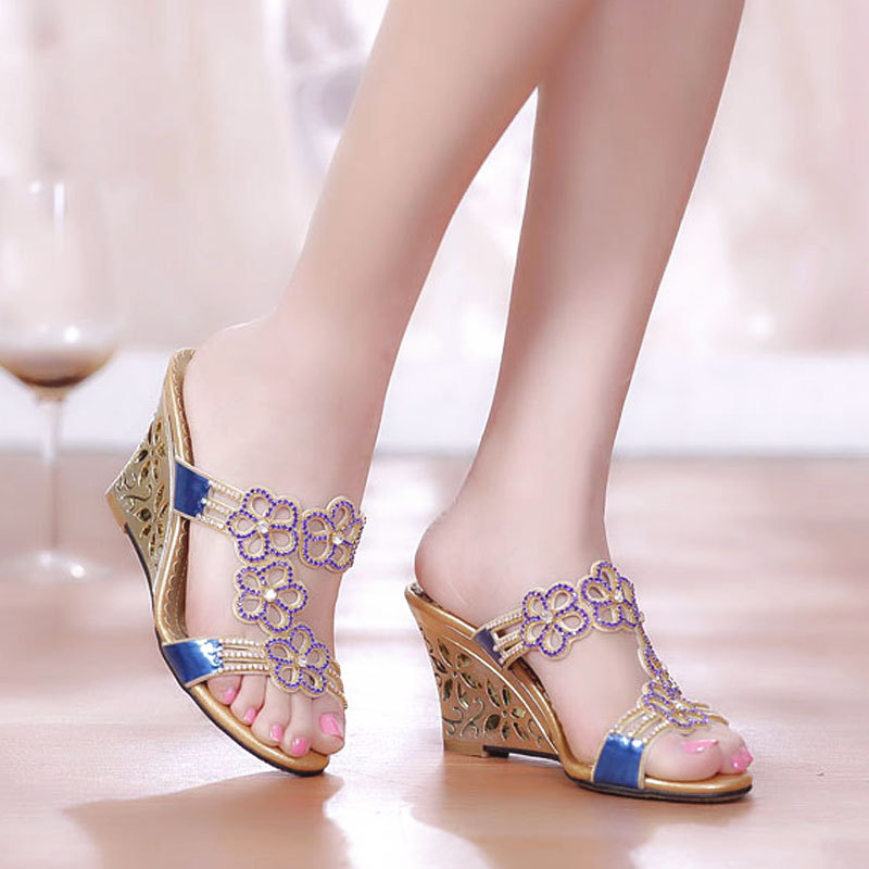 2020 New Summer Style Sexy Womens Slides Rhinestone Wedges High Heels Stiletto Flowers Slipper Party Dress Ladies Shoes C0048