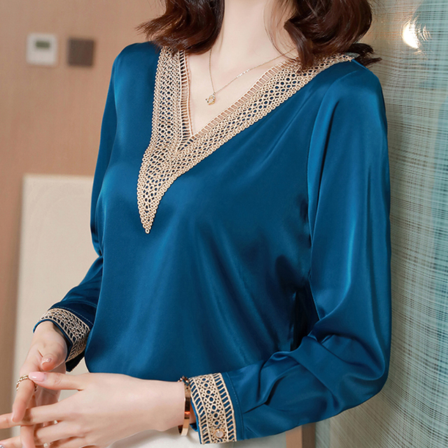 Blouses Femme Tops Women Long Sleeve Blouse Women Blusas Mujer De Moda 2021 V-Neck Solid Chiffon Blouse Shirt Blusas Mujer E653 2