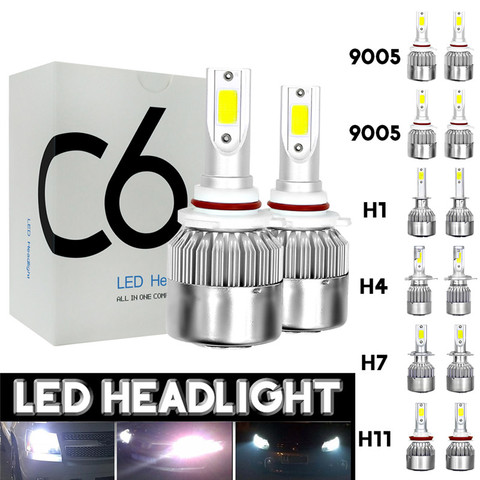 2 pces 12 v 24 v c6 lampada led h1 h4 h7 h11 9005 9006