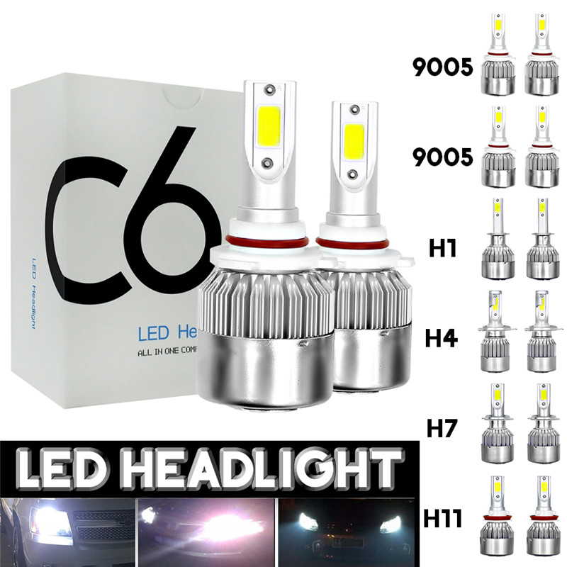 2pcs 12V/24V <font><b>C6</b></font> <font><b>LED</b></font> Bulb <font><b>H1</b></font>/H4/H7/H11/9005/9006 Mini Lamp White <font><b>Headlights</b></font> 72W 7200Lm COB Headlamp Auto Fog Light Lamp Bulb image