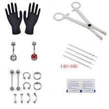 1 conjunto de ferramentas piercing corpo 6 estilo profissional kit ferramenta cartilagem ferramentas corpo jóias estéril barriga corpo anel agulha conjuntos