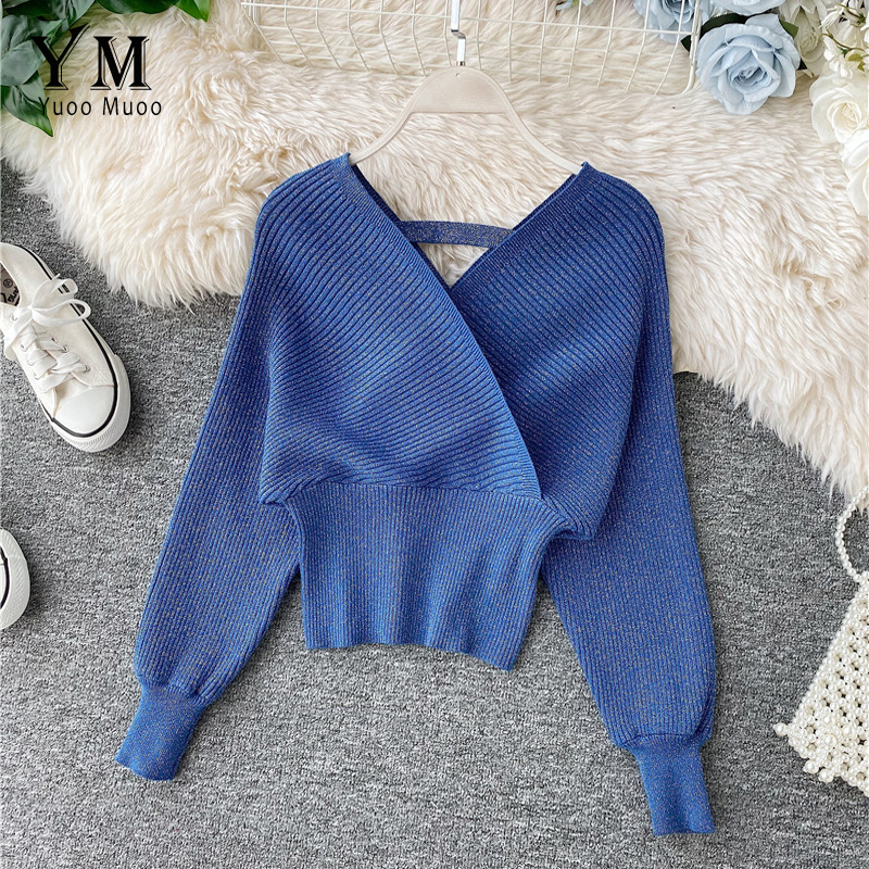 YuooMuoo Elegant Long Batwing Sleeve Women Sweater Good Quality Autumn Blue Pullover Female Knitted Sweater Tops Pull Femme