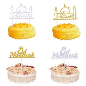 Image 3 - Goud Zilver Glitter Eid Mubarak Cupcake Toppers Eid Ramadan Festival Bunting Islamitische Moslim Mubarak Party Decoratie