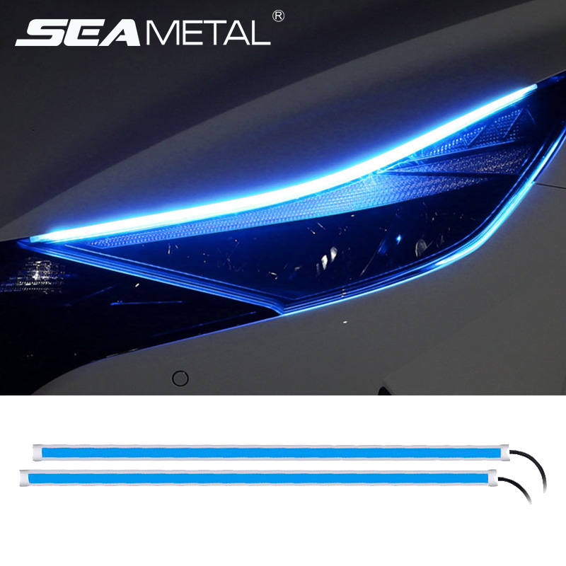 12V Car Led Light Strip DRL Daytime Running Lamp Strips Flexible LED Auto Headlight Surface Decorative Lamp Turn Signal Lights 1