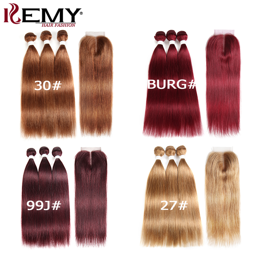 Image 2 - Brazilian Straight Human Hair Bundles With Closure KEMY HAIR 3PCS Brown Hair Weave Bundles With Closure Non Remy Hair Bundles-in 3/4 Bundles with Closure from Hair Extensions & Wigs