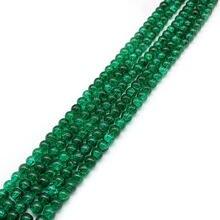 Натуральный камень темно зеленый треснутый кварц бусины для