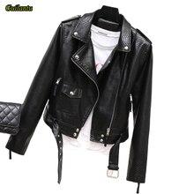 Guilantu 여자의 가짜 Pu 가죽 오토바이 코트 여성 2020 봄 가을 패션 블랙 바이커 소프트 자켓 여성