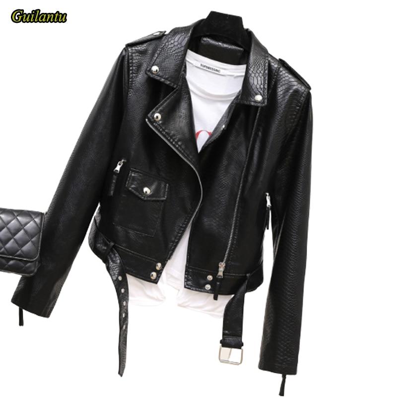 Guilantu Women's Faux Pu Leather Motorcycle Coat Women 2020 Spring Autumn Fashion Black Biker Soft Jacket Female
