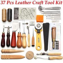 Profissional 37 pçs kit de ferramentas artesanato de couro mão costura punch escultura trabalho para diy artesanal leathercraft acessórios