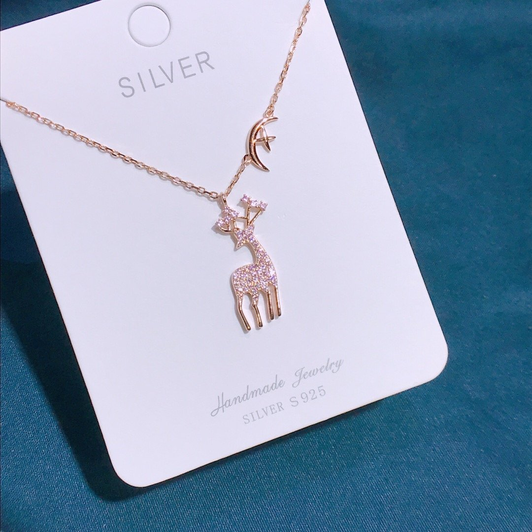 Купить с кэшбэком Charm Maiden Sterling Silver 925 Original Luxury Pendants Necklace Women Stylish Chain Sika Deer Zirconium Fine Jewelry Choker