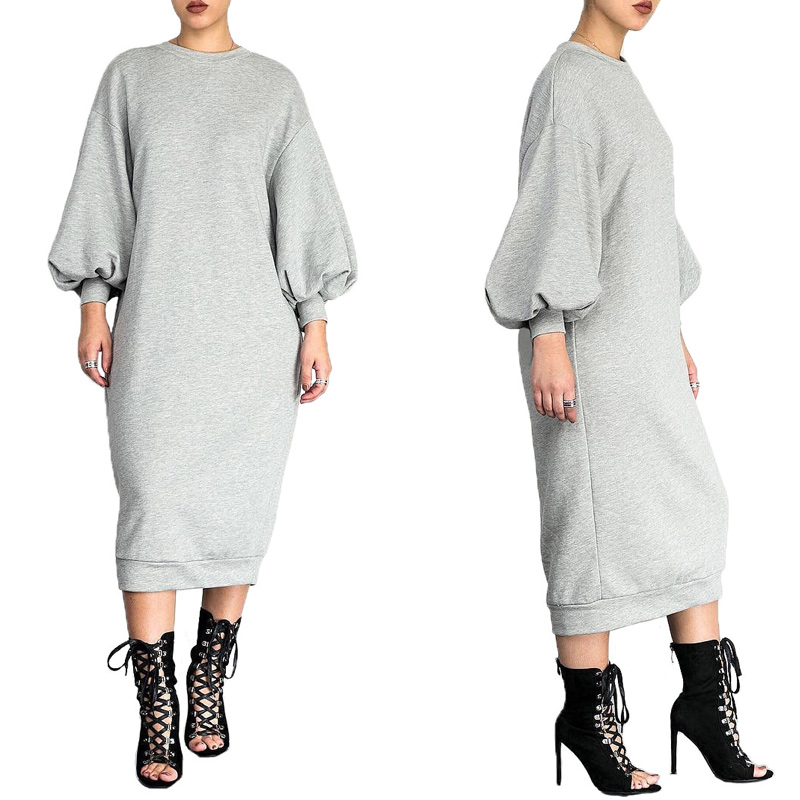 Space Cotton Sweatshirt Dress Bishop Sleeve Long Dresses 2020 Loose Plus Size Hight Quality Women Clothing Dropshipping