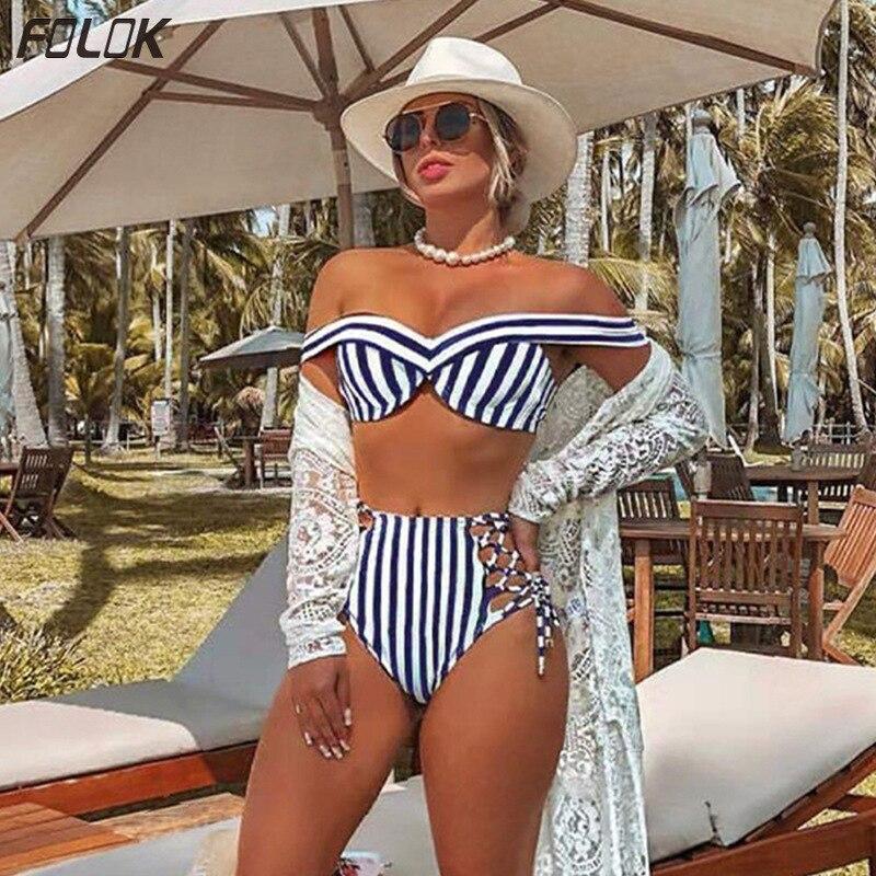 Bikini 2020 Swimwear  Women Bathing Suit Stripe Tankini High Waist Swimsuit Push Up Sexy Swimming Suit Brazilian Bikinis