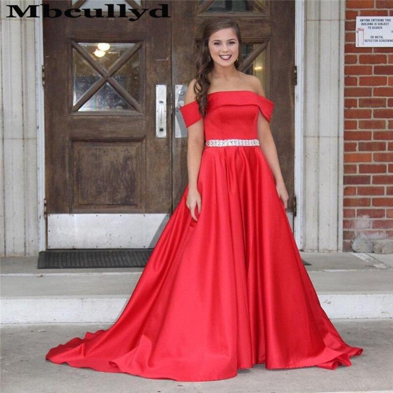 Mbcullyd Off Shoulder Red Prom Dresses Long Crystal Imported Evening Dress Cheap Plus Size Satin Vestidos De Fiesta De Noche