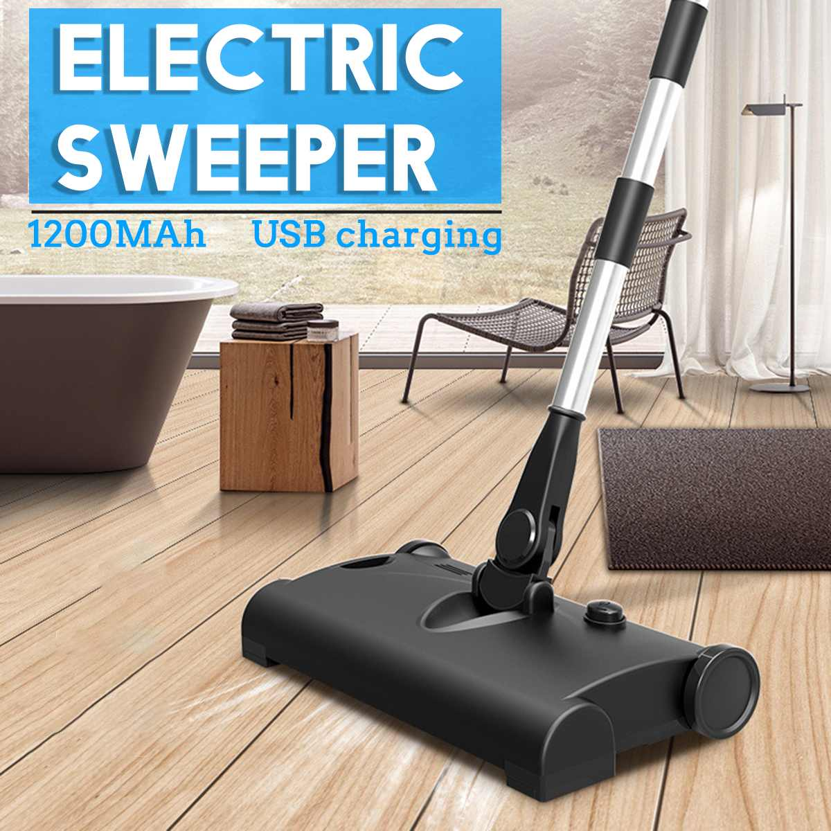 Electric Mop Wireless USB Charging Floor-Cleaner Scrubber Brooms 360 Degree Rotation Hand Push Sweeper Household Cleaning Mops