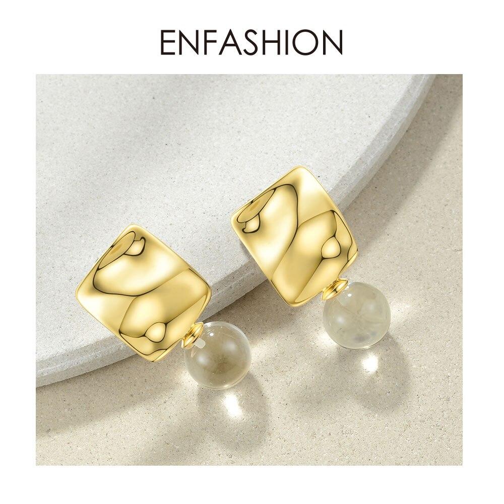ENFASHION Wrinkled Metal Crystal Ball Drop Earrings For Women Gold Color Geometric Dangle Earings Fashion Jewelry 2019 EC191077