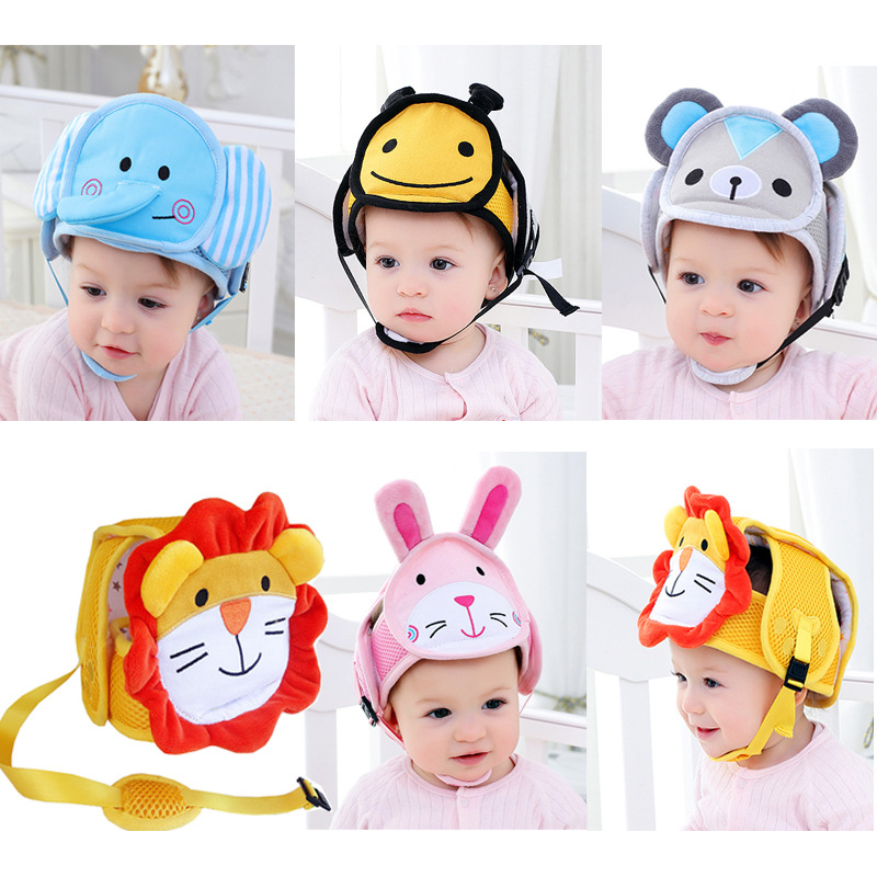 Baby Helmet Safety Protective Helmet For Boys Girls Toddler Kids Cartoon Soft Adjustable Head Protection Children's Cap Baby Hat