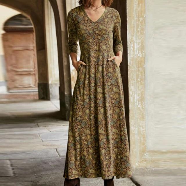 lovely casual long dress, pockets and v neckline 4