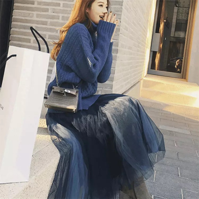 Autumn And Winter WOMEN'S Suit 2018 New Style Online Celebrity Goddess-Style Soft Girl Laziness-Style Knitted Sweater Gauze Skir