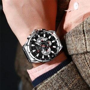Image 3 - カレン男性腕時計防水クロノグラフメンズ腕時計軍事トップブランドの高級シルバーステンレス鋼スポーツ男性時計 8363