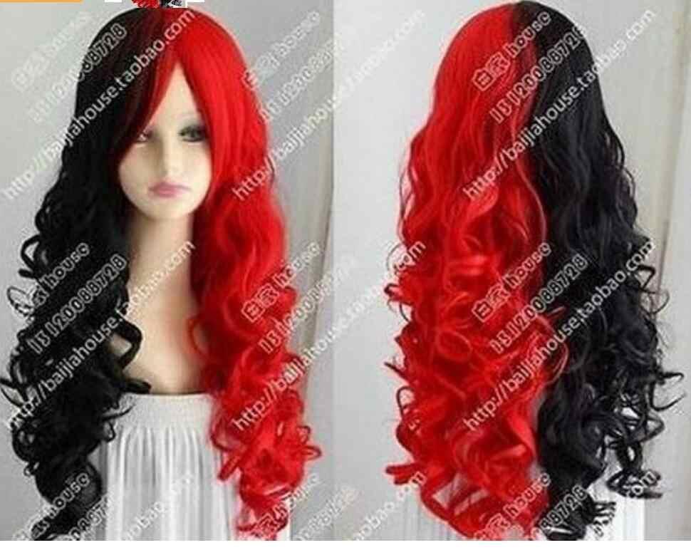 Bonito harley quinn peruca preto e vermelho longo cabelo encaracolado peruca cosplay