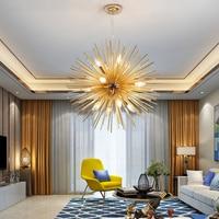 Nordic Modern luxury Artistic Aluminum Dandelion Chandelier Golden Hanging Lamps Decorative Fixture Lighting E14 Led Home Lights