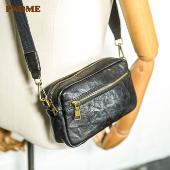 PNDME casual soft genuine leather men shoulder messenger bag daily light natural cowhide multifunctional phone clutch wallet