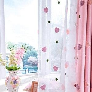 Cortinas de tela de tul transparente con dibujos animados en 3D de corazones para niños, dormitorio, sala de estar, Chico, chica, ventana, estilo coreano