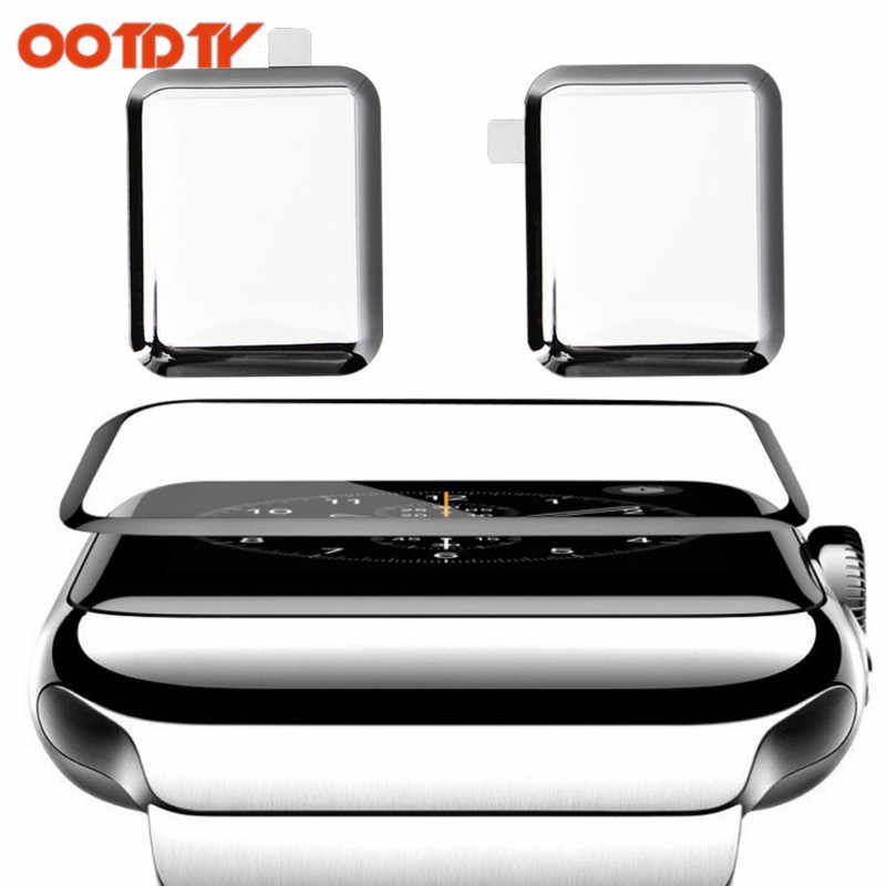OOTDTY 1set 9H 3D Curved Full Coverage Screen Protector Tempered Glass Screen Protective Film For Apple Watch 1/2/3 dropshipping