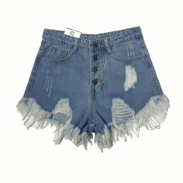Korea Fashion Summer Women High Waist Button Sexy Hole Rippe Jean Shorts Cotton Demin Loose Shorts Plus Size Hot Shorts D212 1