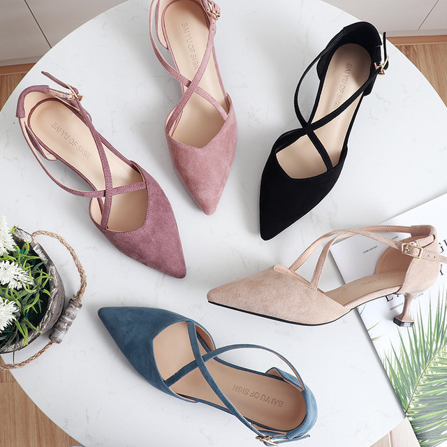 5cm High Heels Shoes Woman Cross Tied Flock Pointed Toe Thin Heels Pumps Shoes Female Nude Elegant Sandals Party Wedding Shoes