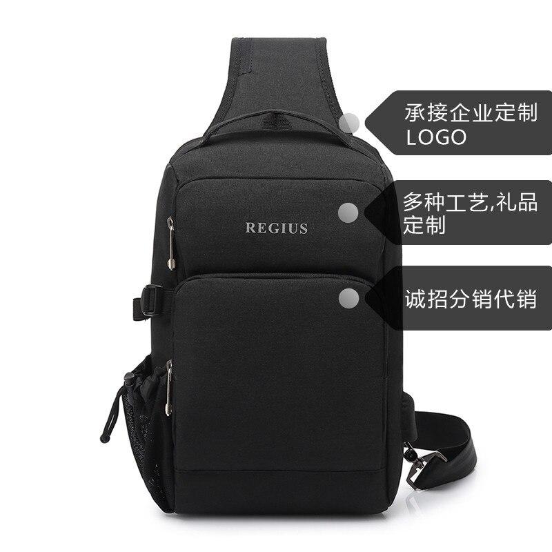 QGW Mens Bag Leisure Messenger Bag Chest Bag Shoulder Bag Multi-function Mens Bag Color : Black