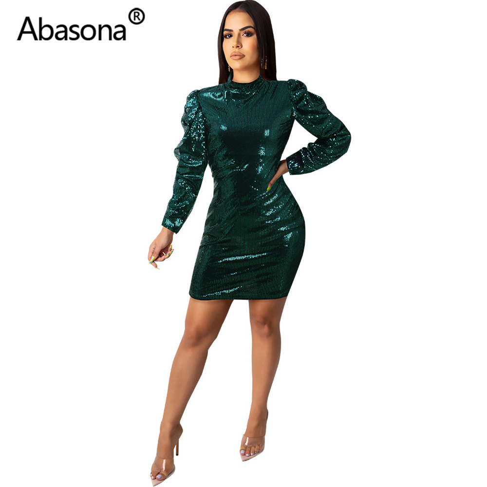 Abasona Women Sexy Long Puff Sleeve Sequined Bandage Dress Mini Bodycon Turtleneck Zip Pencil Dresses Party Night Club Green