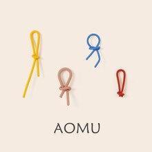AOMU-pendientes de Metal minimalistas para mujer y niña, 2020 S925, novedad, línea curva, pintura en aerosol, joyería