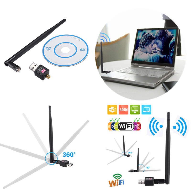 2.4GHz USB Wireless Wifi Adapter 600mbps 802.11n USB Ethernet Adapter Network Card <font><b>Wi</b></font>-<font><b>fi</b></font> Receiver For Windows Mac PC image